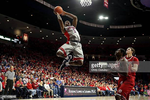 Kadeem Allen of the Arizona Wildcats looks to dunk the ball during the second half of the college basketball game against the Bradley Braves at...