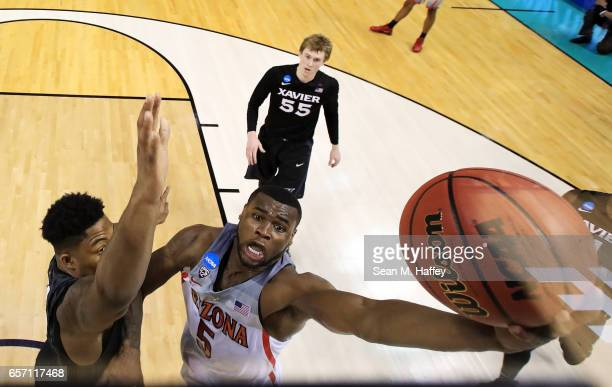 Kadeem Allen of the Arizona Wildcats rebounds against the Xavier Musketeers during the 2017 NCAA Men's Basketball Tournament West Regional at SAP...
