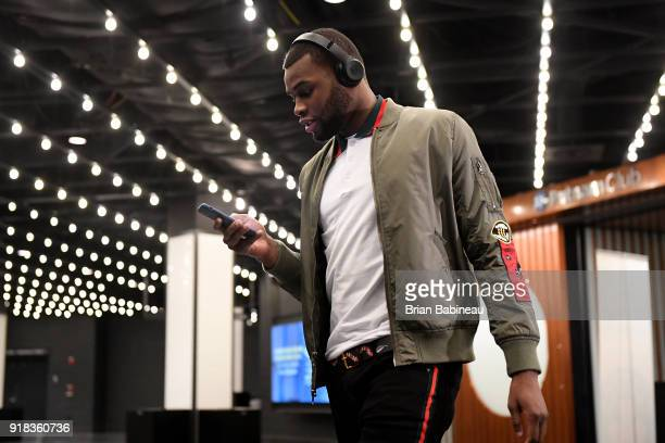 Kadeem Allen of the Boston Celtics arrives before the game against the LA Clippers on February 14 2018 at the TD Garden in Boston Massachusetts NOTE...