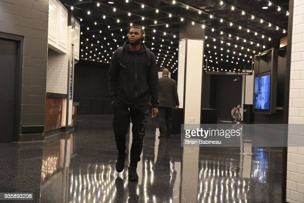 Kadeem Allen of the Boston Celtics arrives to the arena prior to the game against the Oklahoma City Thunder on March 20 2018 at the TD Garden in...