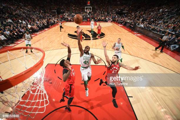 Kadeem Allen of the Boston Celtics goes to the basket against the Toronto Raptors on February 6 2018 at the Air Canada Centre in Toronto Ontario...