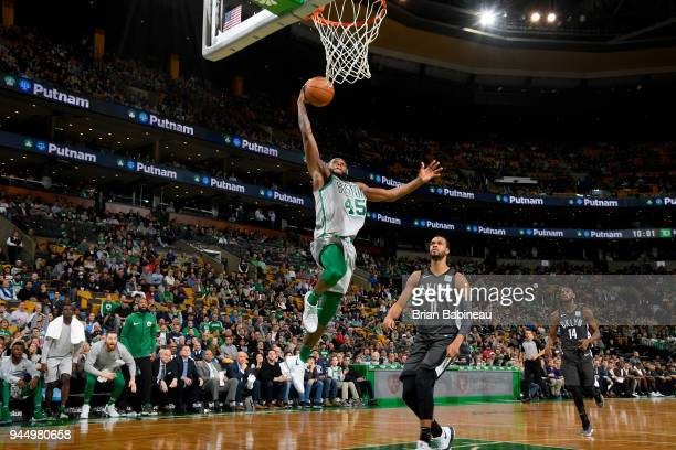 Kadeem Allen of the Boston Celtics goes to the basket against the Brooklyn Nets on April 11 2018 at the TD Garden in Boston Massachusetts NOTE TO...