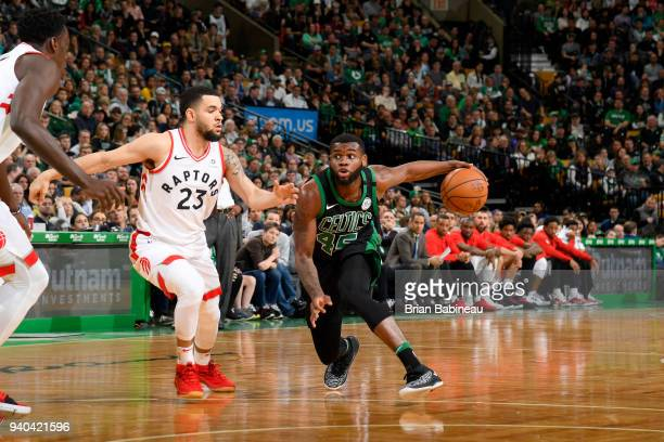Kadeem Allen of the Boston Celtics handles the ball against the Toronto Raptors on March 31 2018 at the TD Garden in Boston Massachusetts NOTE TO...