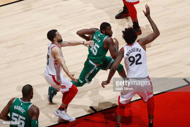 Kadeem Allen of the Boston Celtics handles the ball against the Toronto Raptors on April 4 2018 at the Air Canada Centre in Toronto Ontario Canada...