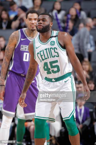 Kadeem Allen of the Boston Celtics looks on during the game against the Sacramento Kings on March 25 2018 at Golden 1 Center in Sacramento California...