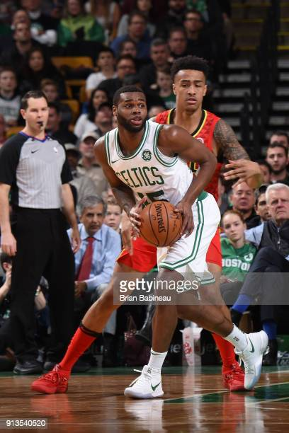 Kadeem Allen of the Boston Celtics passes the ball during the game against the Atlanta Hawks on February 2 2018 at the TD Garden in Boston...