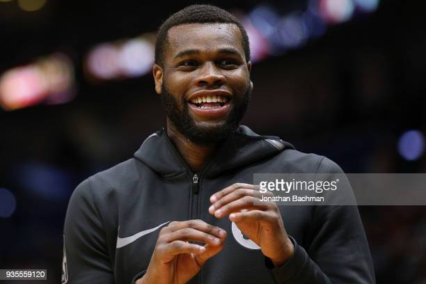 Kadeem Allen of the Boston Celtics reacts during a game against the New Orleans Pelicans at the Smoothie King Center on March 18 2018 in New Orleans...
