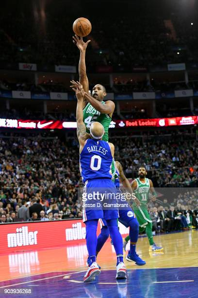 Kadeem Allen of the Boston Celtics shoots the ball during the game against the Philadelphia 76ers on January 11 2018 at The O2 Arena in London...