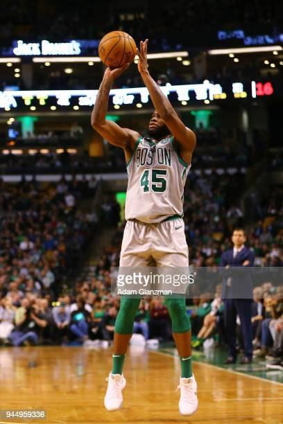 Kadeem Allen of the Boston Celticsshoost the ball during a game against the Brooklyn Nets at TD Garden on April 11 2018 in Boston Massachusetts NOTE...
