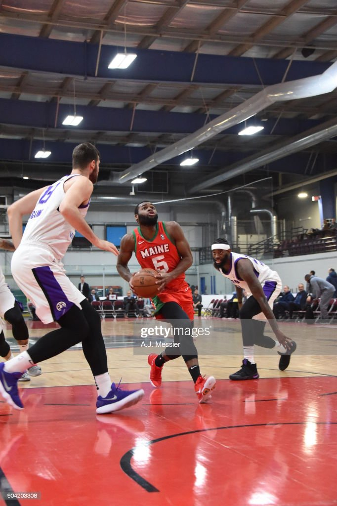 Kadeem Allen #5 of the Maine Red Claws drives to the basket against the Reno Bighorns during the G-League Showcase on January 11, 2018 at the Hershey Centre in Mississauga, Ontario Canada.
