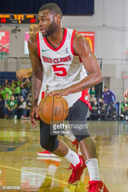 Kadeem Allen of the Maine Red Claws drives to the basket against the Greensboro Swarm on January 25 2018 at the Portland Expo in Portland Maine NOTE...