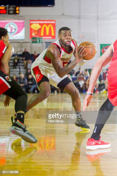 Kadeem Allen of the Maine Red Claws handles the ball against the Windy City Bulls during the NBA GLeague on February 25 2018 at the Portland Expo in...