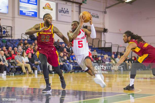 Kadeem Allen of the Maine Red Claws handles the ball against the Canton Charge during the NBA GLeague on March 8 2018 at the Portland Expo in...