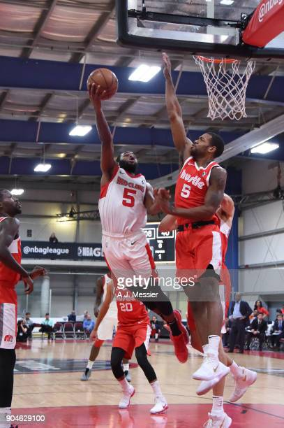 Kadeem Allen of the Maine Red Claws handles the ball during the NBA GLeague Showcase Game 25 between the Memphis Hustle and the Maine Red Claws on...