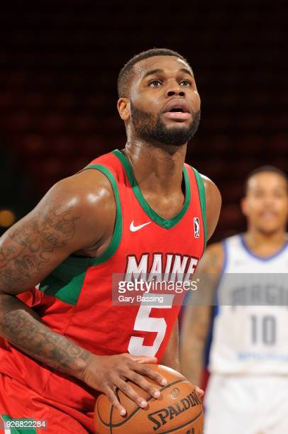 Kadeem Allen of the Maine Red Claws shoots the ball during the game against the Lakeland Magic on February 23 2018 at RP Funding Center in Lakeland...