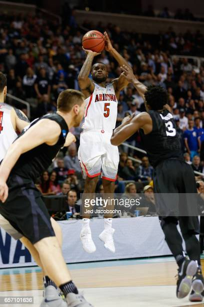 Kadeem Allen of the University of Arizona Wildcats looks for two points against the Xavier University Musketeers during the 2017 NCAA Photos via...