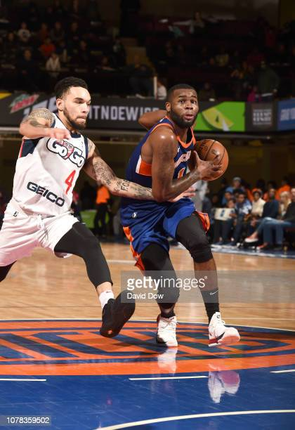 Kadeem Allen of the Westchester Knicks dribbles against Chris Chiozza of the Capital City Go Go at the Westchester County Center on January 06 2019...