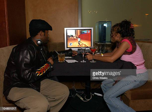 Kadeem Hardison Paula J Parker during Wayne Brady Hosts Holiday PlayStation 2 Gaming Party at The Highlands in Hollywood California United States