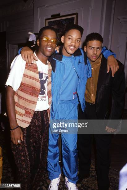 Kadeem Hardison Will Smith and Al B sure during On The Set Of Fresh Prince Of Bel Air at KTLA Studios in Hollywood California United States