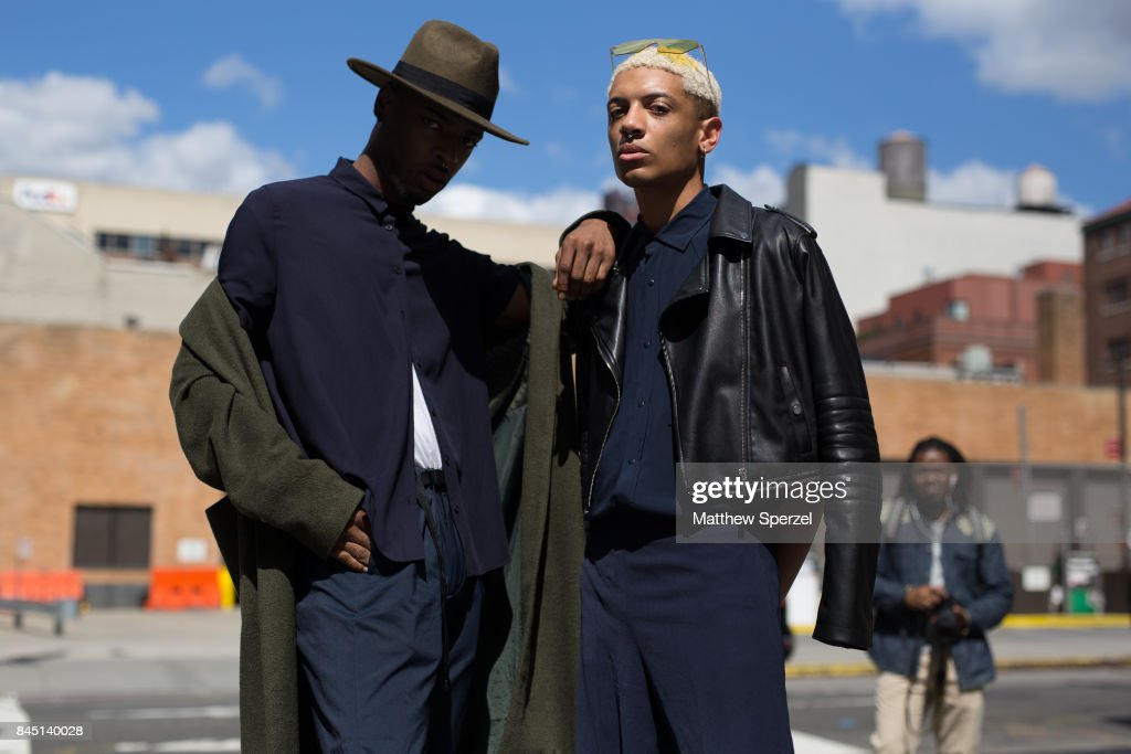 Kadeem Harper & David Simmons are seen attending Son Jung Wan during New York Fashion Week wearing Topshop on September 9, 2017 in New York City.