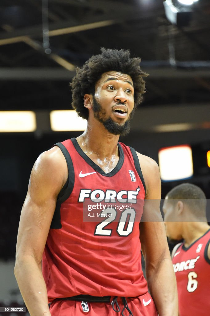 Kadeem Jack #20 of Sioux Falls Skyforce reacts during the NBA G-League Showcas Game 22 between the Sioux Falls Skyforce and the Raptors 905 on January 13, 2018 at the Hershey Centre in Mississauga, Ontario Canada.