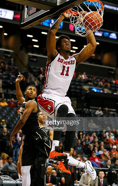 Kadeem Jack of the Rutgers Scarlet Knights dunks against of the Vanderbilt Commodores during the second half of a game in the Barclays Center Classic...