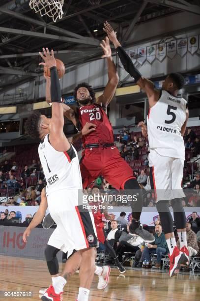 Kadeem Jack of the Sioux Falls Skyforce handles the ball during the NBA GLeague Showcase Game 22 between the Sioux Falls Skyforce and the Raptors 905...