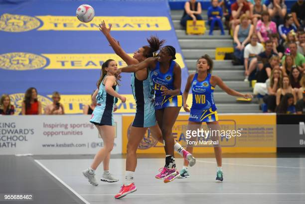 Kadeen Corbin of Team Bath challenges Samantha Cook of Severn Stars during the Vitality Superleague match between Team Bath and Severn Stars at...