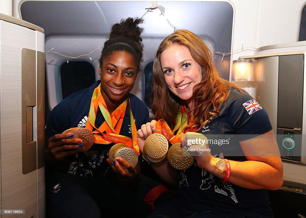 Paralympics GB Team fly back from Rio on British Airways Flight : News Photo