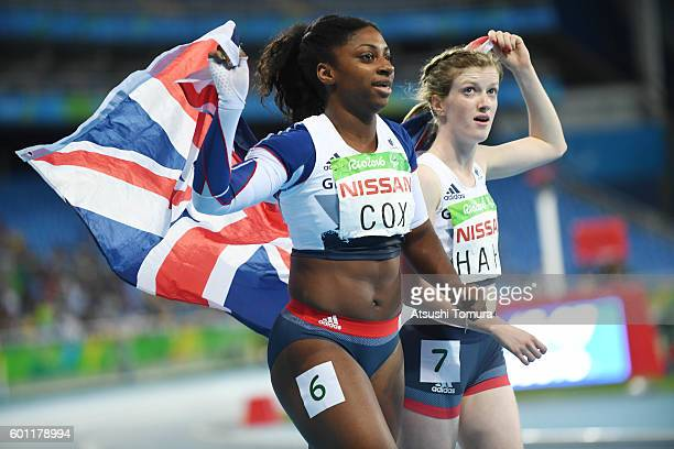 Kadeena Cox and Sophie Hahn of Great Britain pose together after competing in the women's 100 meter T38 on day 2 of the Rio 2016 Paralympic Games at...