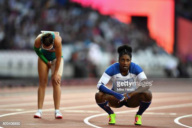 Kadeena Cox of Great Britain catches her breath after winning the Womens 400m T38 final during day eight of the IPC World ParaAthletics Championships...
