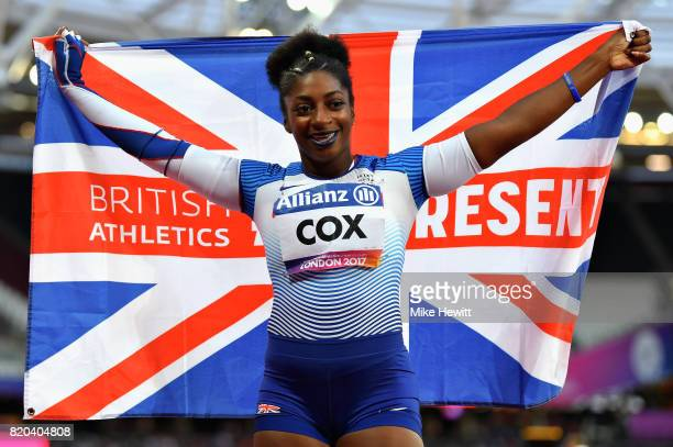 Kadeena Cox of Great Britain celebrates after winning the Womens 400m T38 final during day eight of the IPC World ParaAthletics Championships 2017 at...
