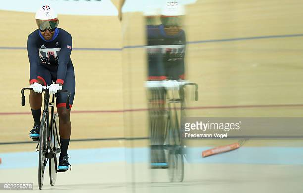 Kadeena Cox of Great Britain celebrates after winning the Women's C45 500m Time Trial Track Cycling on day 3 of the Rio 2016 Paralympic Games at the...