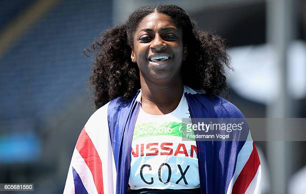 Kadeena Cox of Great Britain celebrates winning the gold medal in the Women's 400m T38 on day 7 of the Rio 2016 Paralympic Games at the Olympic...