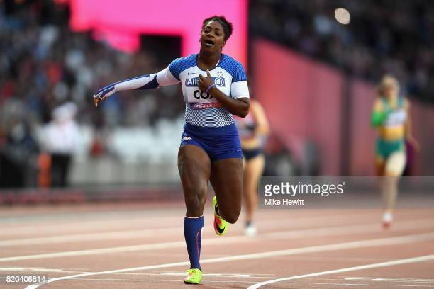Kadeena Cox of Great Britain crosses the line to win the Womens 400m T38 final during day eight of the IPC World ParaAthletics Championships 2017 at...