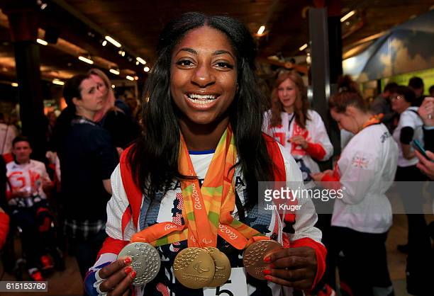 Kadeena Cox of Great Britain poses with her medals before a Rio 2016 Victory Parade for the British Olympic and Paralympic teams on October 17 2016...