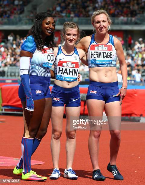 LR Kadeena COX of Great Britain Sophie HAHN of Great Britain and Georgina HERMITAGE of Great Britain after the Women's 100m T37/38 during Muller...