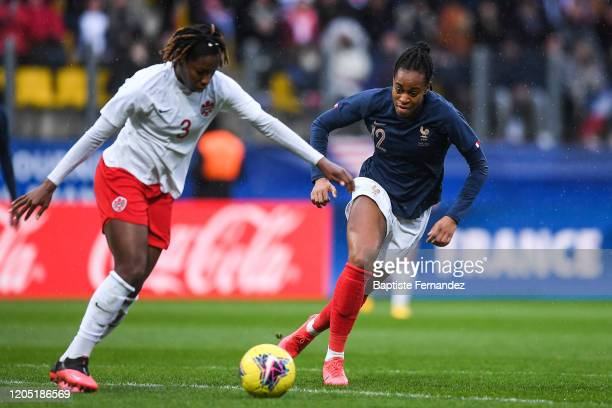 Kadeisha BUCHANAN of Canada and Marie Antoinette KATOTO of France during the Tournoi de France International Women's soccer match between France and...