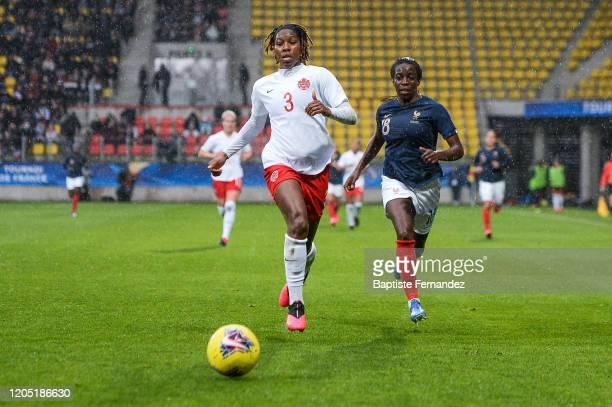 Kadeisha BUCHANAN of Canada and Viviane ASSEYI of France during the Tournoi de France International Women's soccer match between France and Canada on...