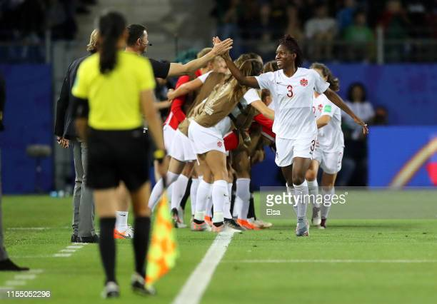 Kadeisha Buchanan of Canada celebrates with teammates after scoring her team's first goal during the 2019 FIFA Women's World Cup France group E match...