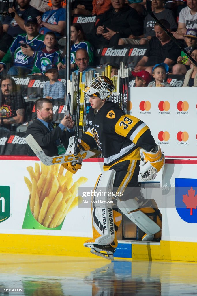 Kaden Fulcher #33 of Hamilton Bulldogs enters the ice at the start of game four of the MasterCard Memorial Cup against the Swift Current Broncos at Brandt Centre - Evraz Place on May 21, 2018 in Regina, Canada.
