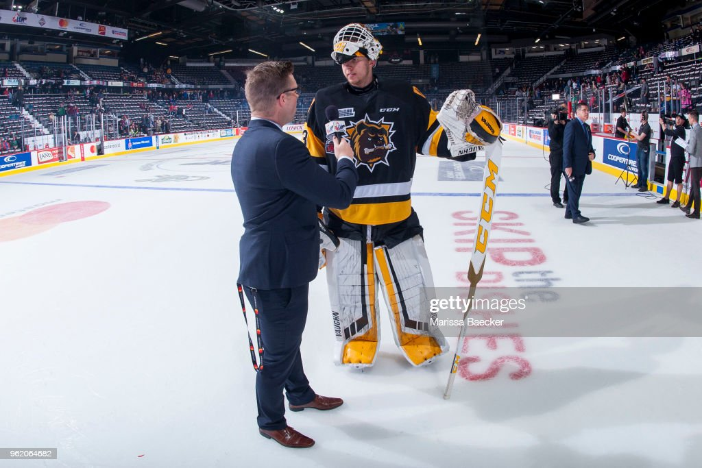 Kaden Fulcher #33 of Hamilton Bulldogs is interviewed post game on the ice after the game 5 win against the Acadie-Bathurst Titan at Brandt Centre - Evraz Place on May 22, 2018 in Regina, Canada.