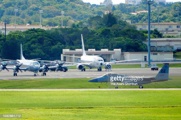 US Kadena Air Base is seen as the Okinawa gubernatorial election officially kicks off on September 13 2018 in Kadena Okinawa Japan Okinawa people...