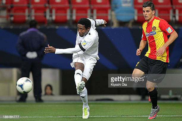 Kader Keita of AlSadd shoots at goal during the FIFA Club World Cup Quarter Final match between Esperance Sportive De Tunis and AlSadd Club at Toyota...
