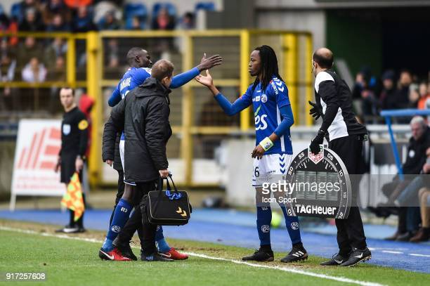 Kader Mangane and Bakary Kone of Strasbourg during the Ligue 1 match between Strasbourg and Troyes AC at on February 11 2018 in Strasbourg