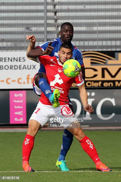 Kader Mangane of Strasbourg and Neal Maupay of Brest during the Ligue 2 match between Stade Brestois 29 and RC Strasbourg Alsace on October 15 2016...