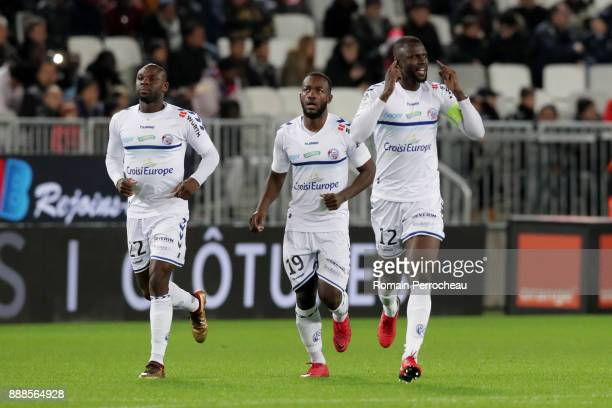 Kader Mangane of Strasbourg gestures after the goal of Stephane Bahoken during the Ligue 1 match between FC Girondins de Bordeaux and Strasbourg at...