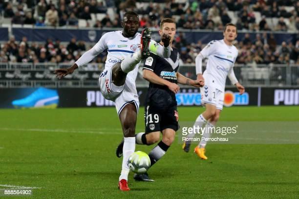 Kader Mangane of Strasbourg in action during the Ligue 1 match between FC Girondins de Bordeaux and Strasbourg at Stade Matmut Atlantique on December...
