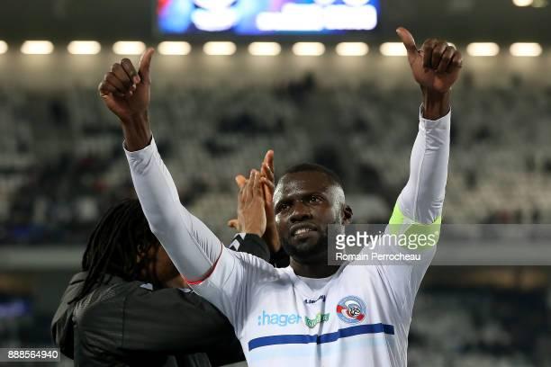 Kader Mangane of Strasbourg waves fans after the Ligue 1 match between FC Girondins de Bordeaux and Strasbourg at Stade Matmut Atlantique on December...