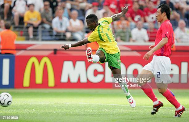 Kader Mohamed of Togo shoots and scores the opening goal during the FIFA World Cup Germany 2006 Group G match between South Korea and Togo at the...